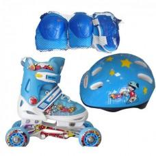Детские ролики Amigo Sport Combo (28-31) голубой (с защитой)