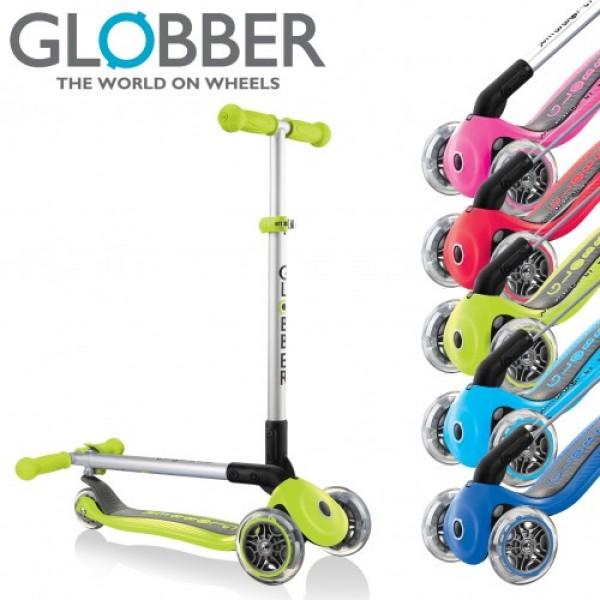 Самокат Globber Primo Foldable Lights (со складной ручкой) синий